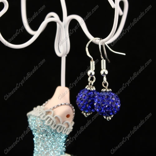 Pave Drop Earrings, sapphire, 10mm clay disco beads, sold 1 pair