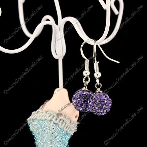 Pave Drop Earrings, tanzanite, 10mm clay disco beads, sold 1 pair