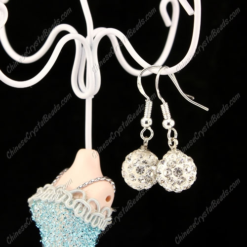 Pave Drop Earrings, White, 10mm clay disco beads, sold 1 pair