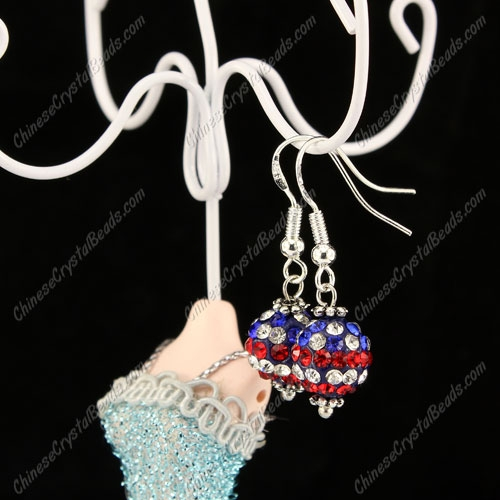 Pave Drop Earrings, USA Flag, 10mm clay disco beads, sold 1 pair