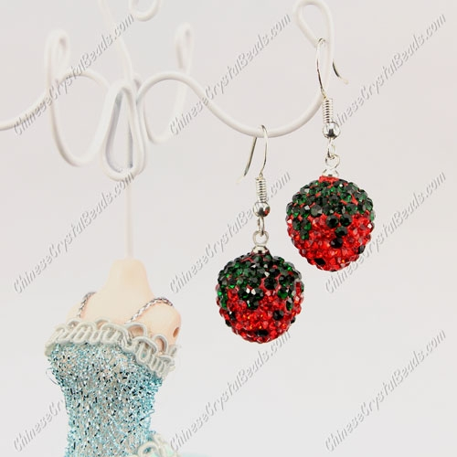 Pave Drop Earrings, red Strawberry,14mm wide, sold 1 pair