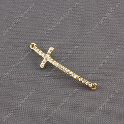 Pave cross, rose gold-plated brass, 12x42mm, hole:1.5mm, 1pcs