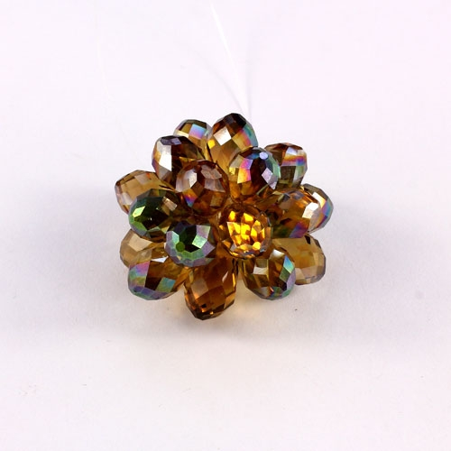 Crystal Beaded Flower, 3D beading flower, yellow light, 34x24mm, sold 1 pcs