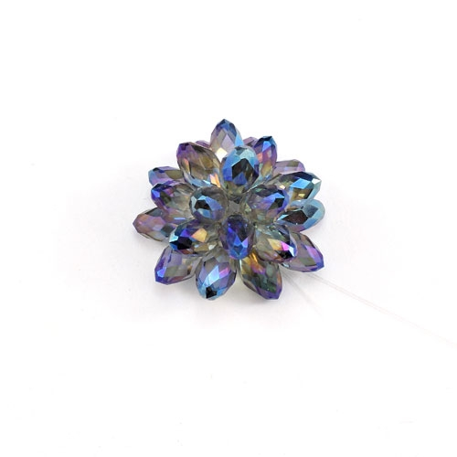 Crystal Beaded Flower, 3D beading flower, blue-light, 20x30mm, sold 1 pcs