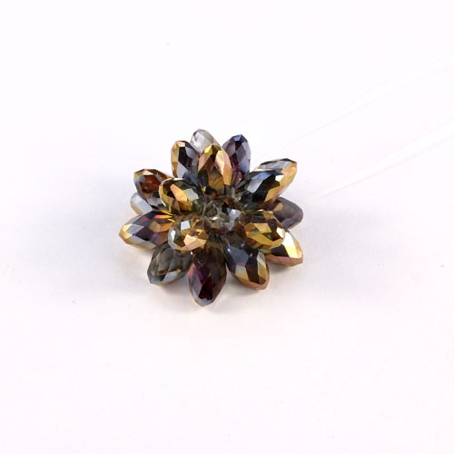 Crystal Beaded Flower, 3D beading flower, copper purple light, 20x30mm, sold 1 pcs
