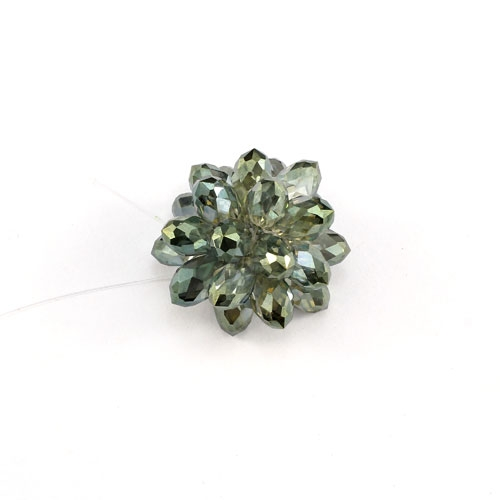 Crystal Beaded Flower, 3D beading flower, green light, 20x30mm, sold 1 pcs
