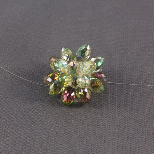 Crystal Beaded Flower, 3D beading flower, green and purple light, 20x30mm, sold 1 pcs