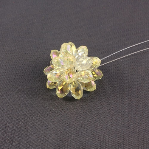 Crystal Beaded Flower, 3D beading flower, jonqui light, 20x30mm, sold 1 pcs