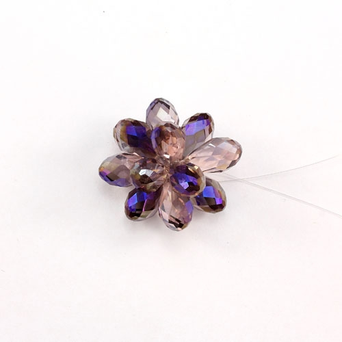 Crystal Beaded Flower, 3D beading flower, Clear AB, 20x30mm, sold 1 pcs