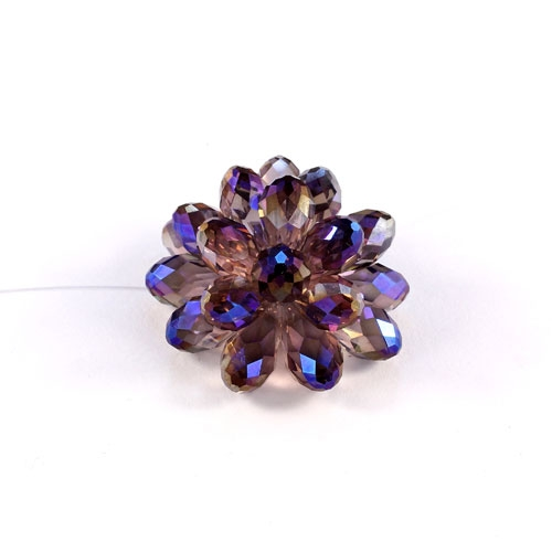Crystal Beaded Flower, 3D beading flower, purple light, 34x24mm, sold 1 pcs