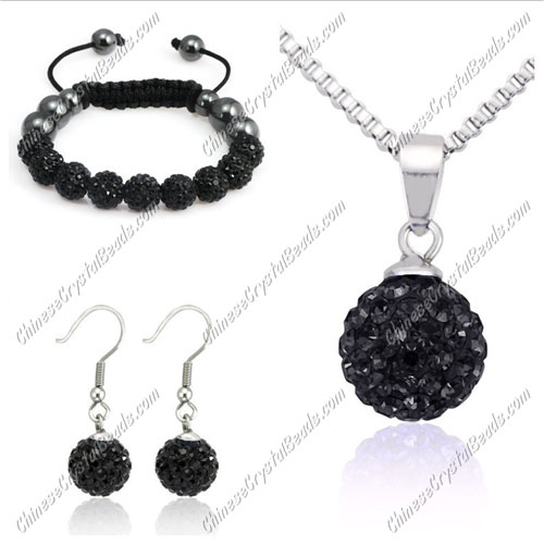 Pave set, Black, 10mm clay pave beads, Necklace, bracelet, earring