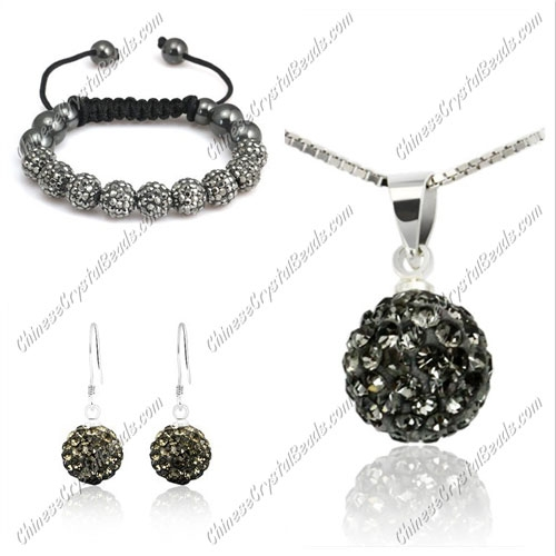 Pave set, gray, 10mm clay pave beads, Necklace, bracelet, earring