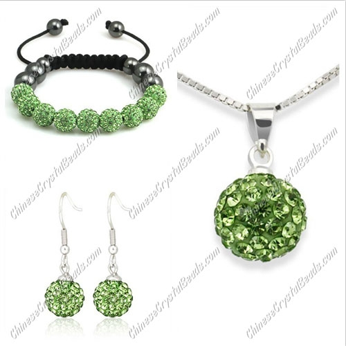 Pave set, green, 10mm clay pave beads, Necklace, bracelet, earring