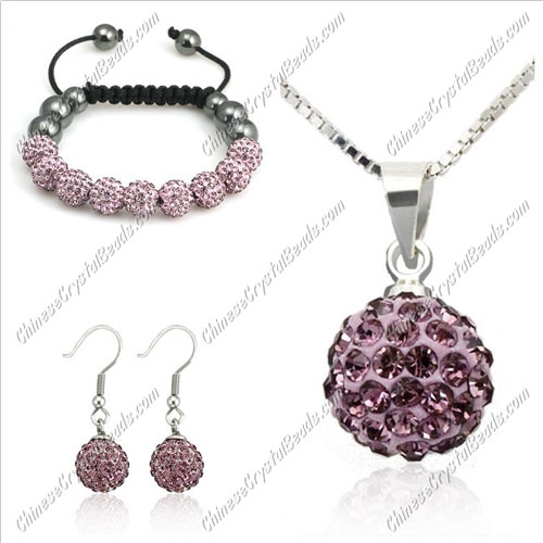 Pave set, purple, 10mm clay pave beads, Necklace, bracelet, earring