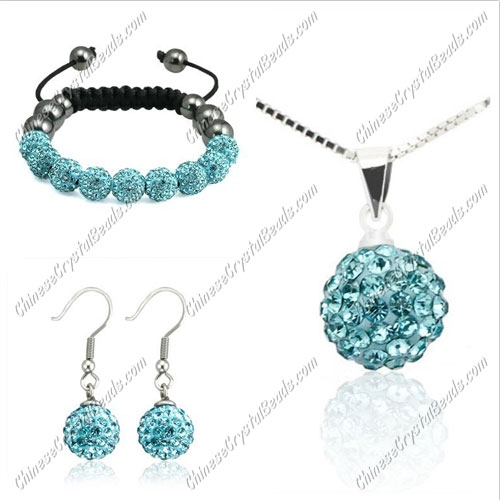 Pave set, Aqua, 10mm clay pave beads, Necklace, bracelet, earring