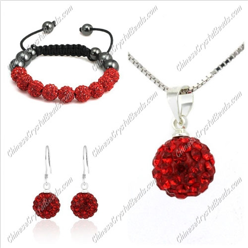 Pave set, Red 10mm clay pave beads, Necklace, bracelet, earring