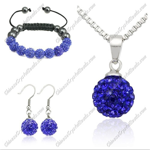 Pave set, Sapphire, 10mm clay pave beads, Necklace, bracelet, earring
