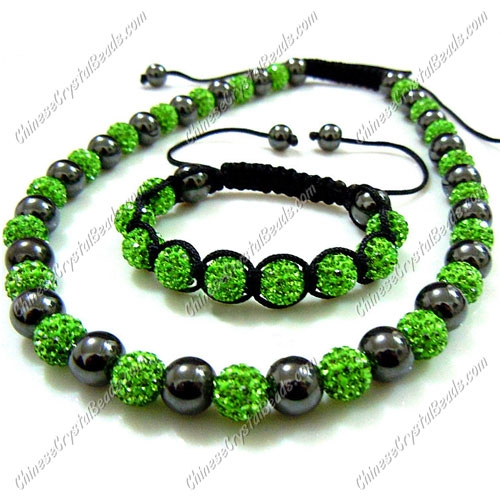 Pave set, green, 10mm clay pave beads, Necklace, bracelet
