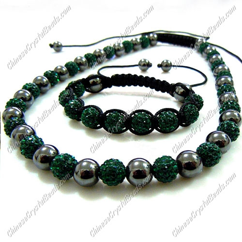 Pave set, Emerald Color, 10mm clay pave beads, Necklace, bracelet