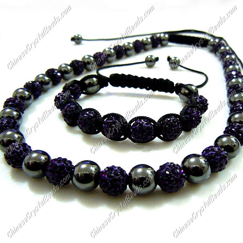 Pave set, violet, 10mm clay pave beads, Necklace, bracelet
