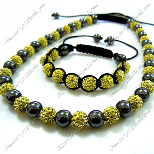 Pave set, yellow color, 10mm clay pave beads, Necklace, bracelet