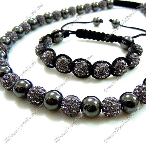 Pave set, gray color, 10mm clay pave beads, Necklace, bracelet