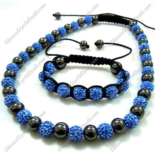 Pave set, light sapphire, 10mm clay pave beads, Necklace, bracelet