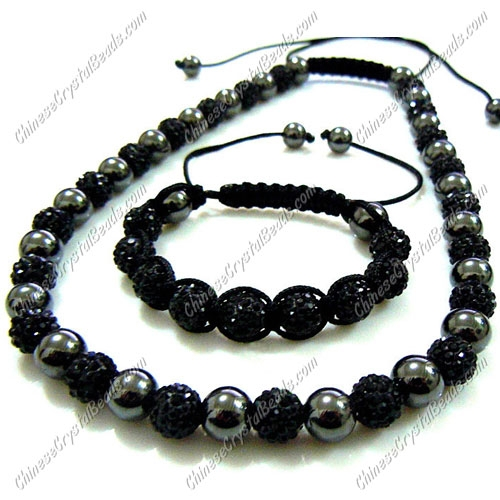 Pave set, black color, 10mm clay pave beads, Necklace, bracelet