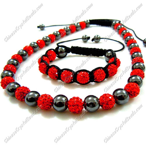 Pave set, red color, 10mm clay pave beads, Necklace, bracelet