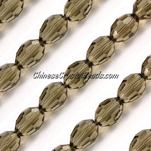 Chinese Crystal Faceted Barrel Strand, smoke,10x13mm, 20 beads