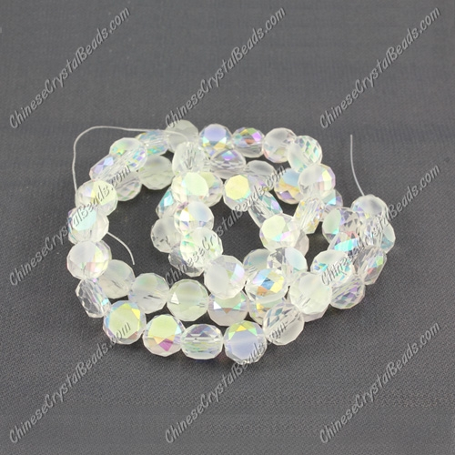 6mm Bread crystal beads long strand, clear AB, 100pcs per strand