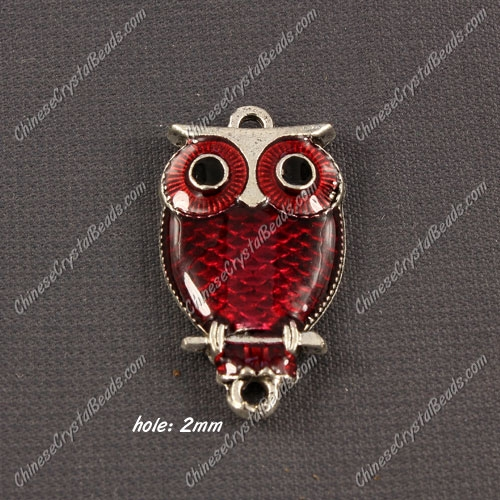 Alloy owl charms, 17x30mm,old silver plated, red, sold 1 piece