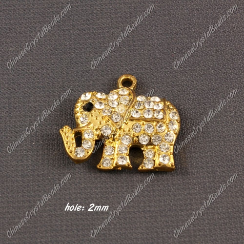 Pave crystal Alloy Charm pendant , gold plated, The elephant, 21x23mm, hole 2mm, sold 1 pcs