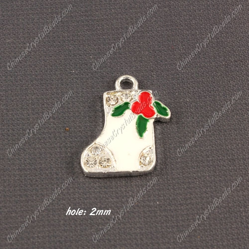 Christmas Alloy Charms pendant ,socks,17x21mm, hole 2mm, sold 1 pcs