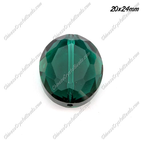 Chinese Crystal Faceted Oval pendant , emerald, 20x24mm, 1 beads