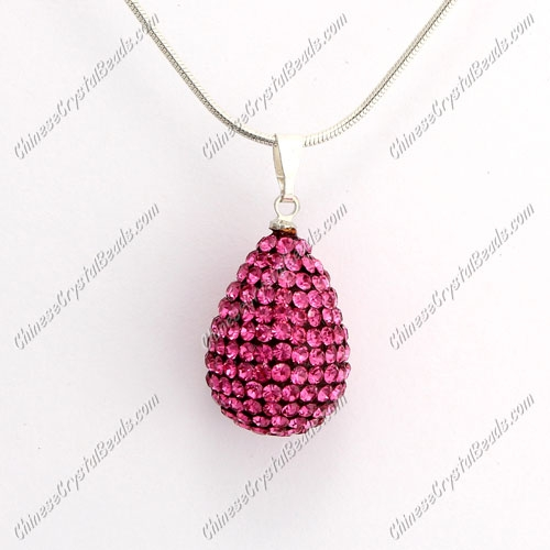 Pave Crystal drop pendant, resin base, (free necklace), rosaline, 15x20mm, sold 1 piece