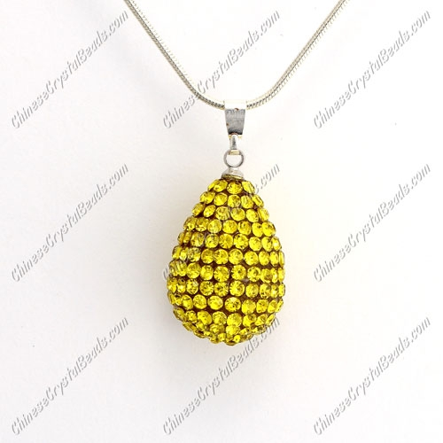 Pave Crystal drop pendant, resin base, (free necklace), yellow, 15x20mm, sold 1 piece