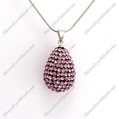 Pave Crystal drop pendant, resin base, (free necklace), pink, 15x20mm, sold 1 piece