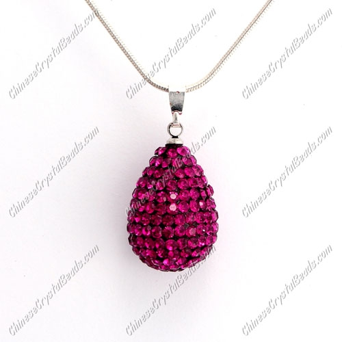 Pave Crystal drop pendant, resin base, (free necklace), fuchsia, 15x20mm, sold 1 piece