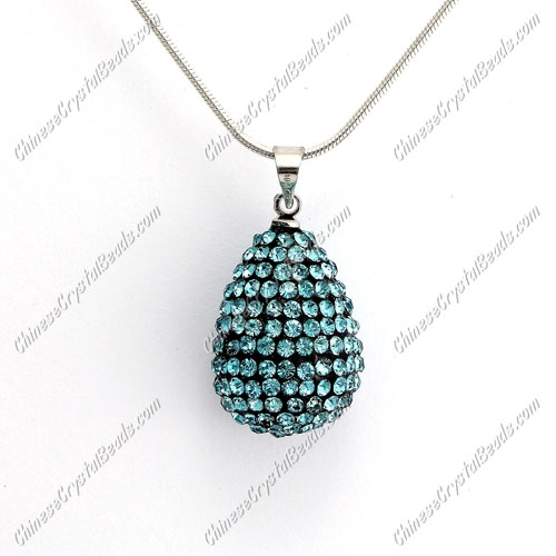 Pave Crystal drop pendant, resin base, (free necklace), aqua, 15x20mm, sold 1 piece