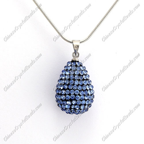Pave Crystal drop pendant, resin base, (free necklace), lt. sapphire, 15x20mm, sold 1 piece