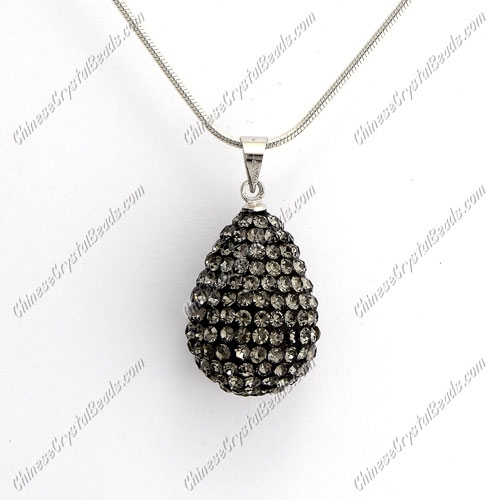 Pave Crystal drop pendant, resin base, (free necklace), gray, 15x20mm, sold 1 piece