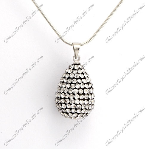 Pave Crystal drop pendant, resin base, (free necklace), white, 15x20mm, sold 1 piece