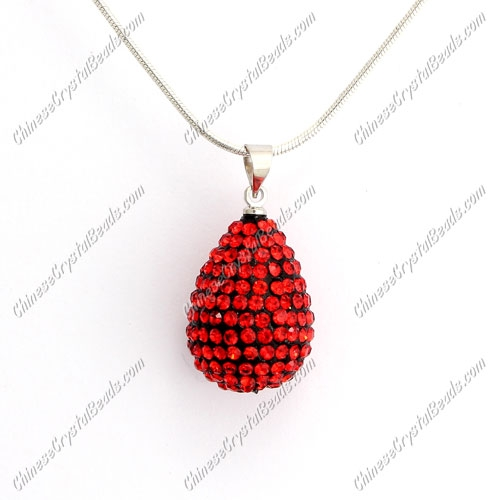Pave Crystal drop pendant, resin base, (free necklace), red, 15x20mm, sold 1 piece