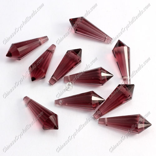 Chinese Crystal Icicle Drop Beads, 8x20mm, 1-hole, Amethyst, sold per pkg of 10 pcs