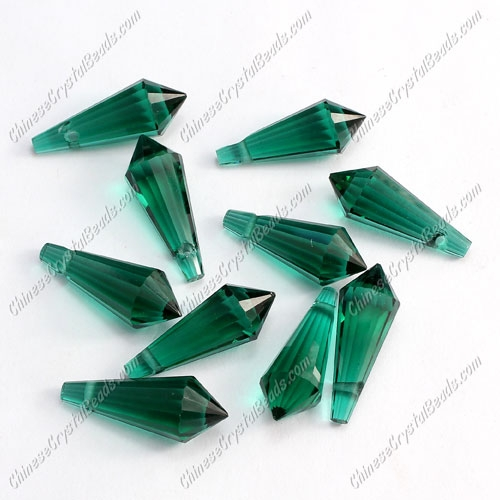 Chinese Crystal Icicle Drop Beads, 8x20mm, 1-hole, emerald, sold per pkg of 10 pcs