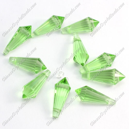 Chinese Crystal Icicle Drop Beads, 8x20mm, 1-hole, lime green, sold per pkg of 10 pcs