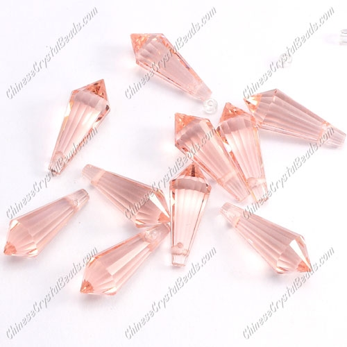 Chinese Crystal Icicle Drop Beads, 8x20mm, 1-hole, pink, sold per pkg of 10 pcs