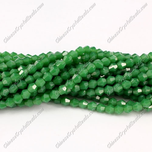 Chinese Crystal 4mm Bicone Bead Strand, Opaque emerald , about 120 beads