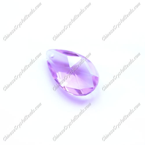 28x16mm Crystal beads Faceted Teardrop Pendant, light violet, hole: 1.5mm